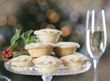 Mince pies and champagne Royalty Free Stock Images