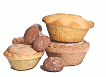 Mince pies and chocolate eggs Royalty Free Stock Photos