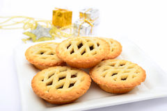 Mince pies and christmas decoration Stock Photography