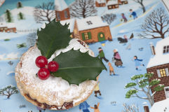 Mince pies on a Christmas plate. Royalty Free Stock Photography