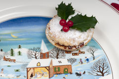Mince pies on a Christmas plate. Stock Photo