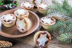 Mince pies with Christmas tree branch Stock Images