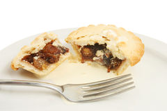 Mince pies and cream Stock Photos