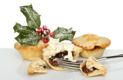 Mince pies and cream Stock Photography