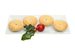 Mince pies and holly Stock Photography