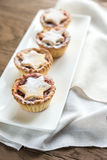 Mince pies on the plate Stock Photos