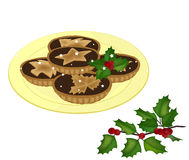 Mince pies on a plate vector Stock Photo