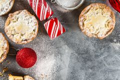 Mince pies filled with vine fruits, traditional christmas food. Mince pies, traditional christmas food made from all butter shortcrust pastry pies deep filled Royalty Free Stock Photo