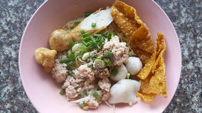 Mince pork noodle with sevaral fish balls and crispy wonton Stock Photos