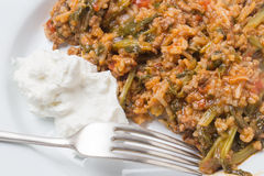 Mince and spinach with yogurt Royalty Free Stock Images