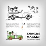 Mince style icône de tracteur de ferme de logotype du marché d'agriculteurs de schéma Photo stock