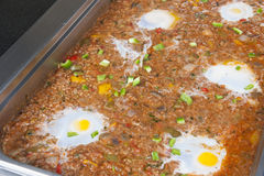 Minced beef with fried egg at an oriental restaurant buffet Stock Image