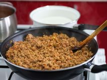 Minced meat in the frying pan Royalty Free Stock Photos