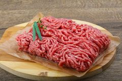 Minced beef. Raw Minced beef with onion ready for cooking Royalty Free Stock Images