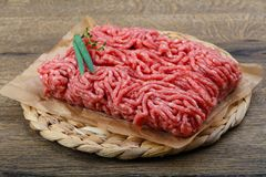 Minced beef. Raw Minced beef with onion ready for cooking Stock Photo