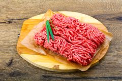 Minced beef. Raw Minced beef with onion ready for cooking Stock Photography