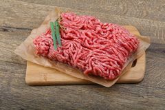 Minced beef. Raw Minced beef with onion ready for cooking Royalty Free Stock Photos