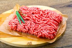 Minced beef. Raw Minced beef with onion ready for cooking Stock Image