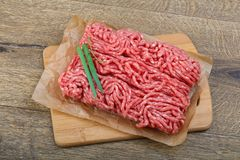 Minced beef. Raw Minced beef with onion ready for cooking Royalty Free Stock Photo