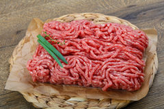 Minced beef. Raw Minced beef with onion ready for cooking Royalty Free Stock Image