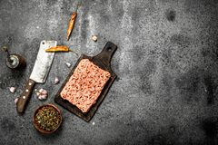 Minced beef with various spices and herbs. On a rustic background Royalty Free Stock Photo