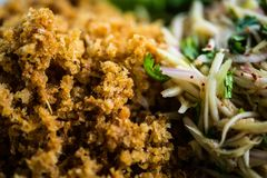 Minced catfish salad, yam pla duk foo Stock Image