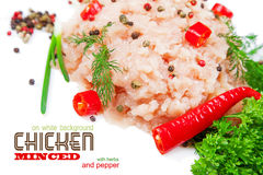Minced chicken meat on a white background Royalty Free Stock Photo
