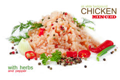 Minced chicken meat on a white background Royalty Free Stock Photography