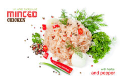 Minced chicken meat on a white background Stock Images