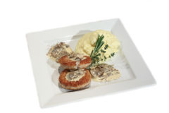 Minced cutlet with mushrooms in cream sauce Royalty Free Stock Photo