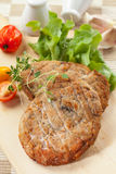 Minced cutlets with mushrooms Stock Photos