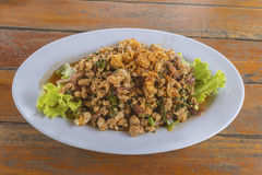 Minced Duck Spicy Salad with Herbs Stock Photo