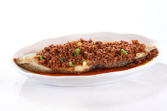 Minced fried beef with a loin of fish on white plate Royalty Free Stock Image