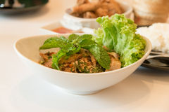 Minced Grilled Pork spicy salad Royalty Free Stock Photography