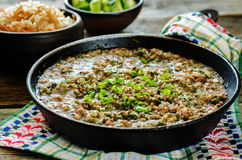 Minced lamb, cooked with spinach Stock Photography