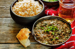 Minced lamb, cooked with spinach Royalty Free Stock Photo