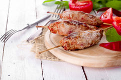 Minced lamb kebab Stock Photos
