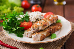 Minced Lula kebab grilled turkey chicken with rice Stock Images