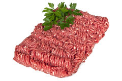 Minced Meat. Lean raw minced meat, isolated on white background stock photo