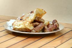 Minced meat. Grilled dish of minced meat, traditional bosnian food royalty free stock image