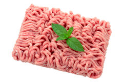 Minced meat. Minced pork and veal for burgers with sheet of mint cropped and isolated Stock Photography