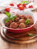 Minced meat bal. L in tomato saucel, selective focus Stock Photos