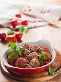 Minced meat bal. L in tomato saucel, selective focus Stock Image