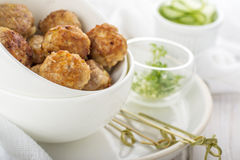 Minced meat ball in bowl Stock Photo