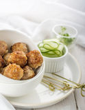 Minced meat ball in bowl Stock Images