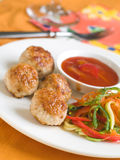 Minced meat balls. Minced meat ball with fresh vegetables spahetti and sauce, selective focus Royalty Free Stock Images