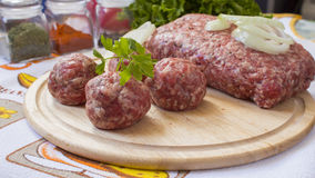 Minced meat balls Royalty Free Stock Images