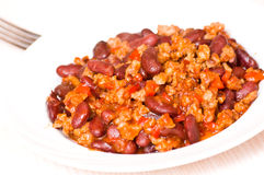 Minced meat with bean Royalty Free Stock Photography