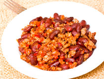 Minced meat with bean Royalty Free Stock Images