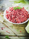 Minced meat in a bowl Stock Photos